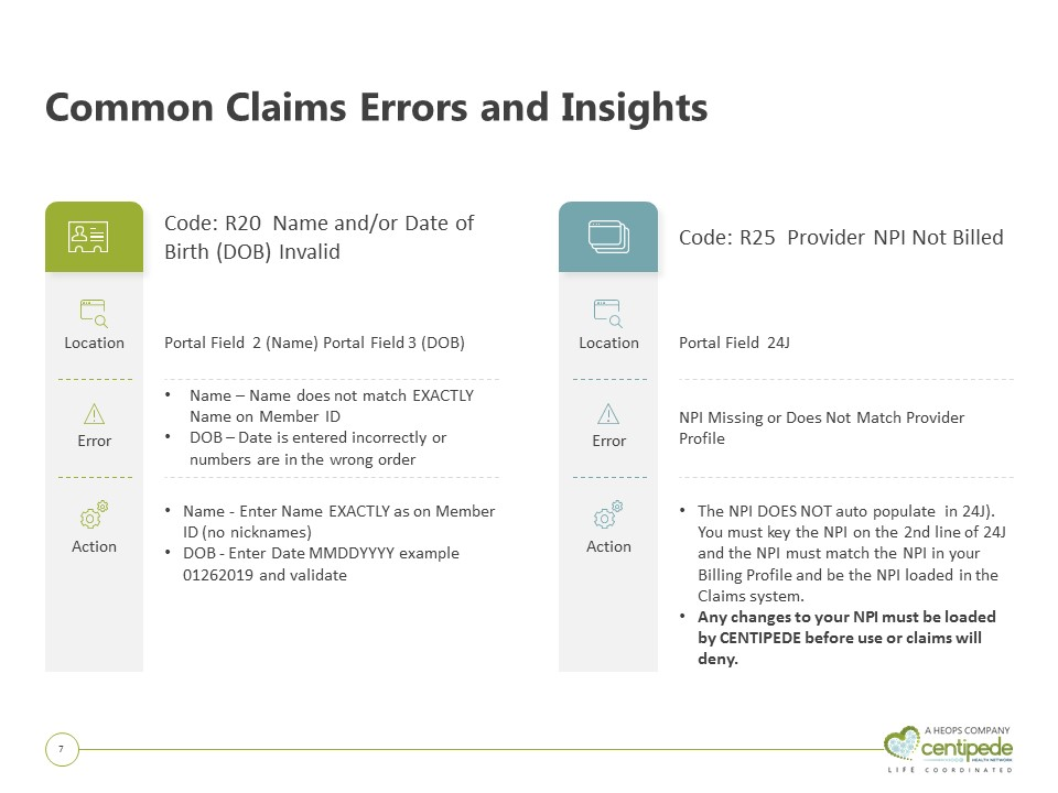 3 Common Errors on Claims